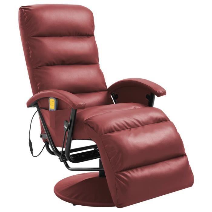 Fauteuil de massage TV Fauteuil relax style contemporain Rouge bordeaux Similicuir
