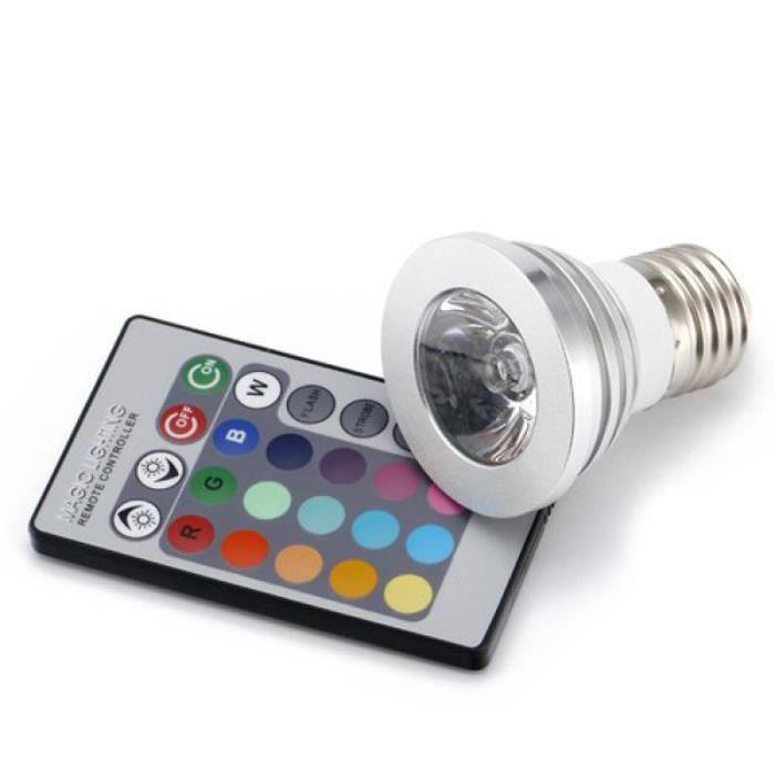 1 ensemble de lampe de télécommande de lumière LED multicolore durable de qualité AMPOULE - AMPOULE LED - AMPOULE HALOGENE