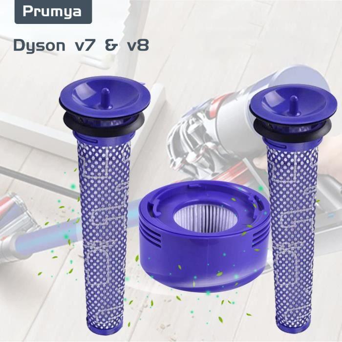 PRUMYA Pack de 3 kits de filtres pour aspirateur sans fil Dyson V8 et V7, accessoires de filtre moteur avant et arrière