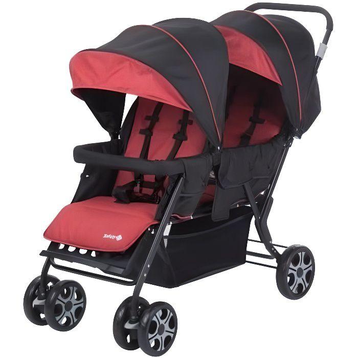 SAFETY 1ST Teamy Poussette Double pour Jumeaux/ Enfants Rapprochés, de la naissance à 4 ans (22kg), Ribbon red chic