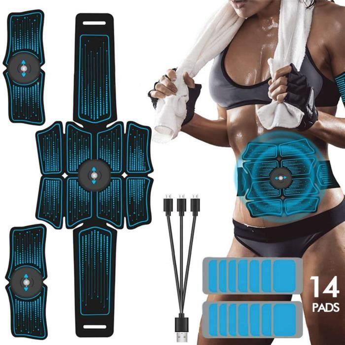 Appareil Abdominal, ABS Trainer EMS Smart Ceinture USB de Charger Electrostimulateur Musculaire Fitness Entraînement + Gel 14Pcs