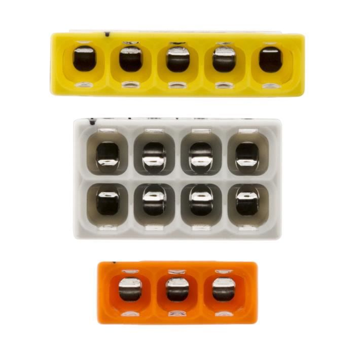 Wago -Assortiment de 50 mini bornes de connexion rapide S2273 pour fils rigides - 10x2 + 20x3 + 15x5 + 5x8
