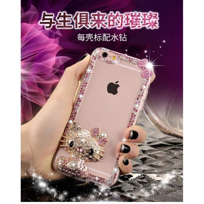 Coque Huawei P8 Lite (2017 Version).rose hello kitty arc chat transparentes brillant de diamant brillant perles de strass mode