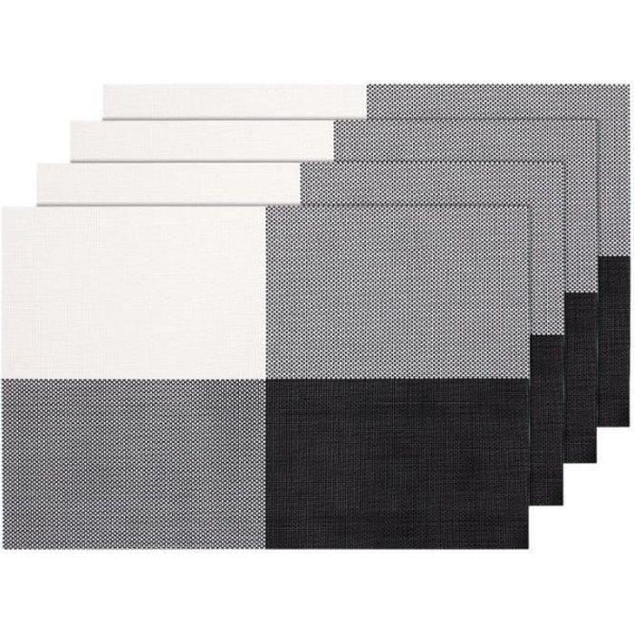 SET DE TABLE Lot de 4 Sets de table tressé gris noir blanc (TS-