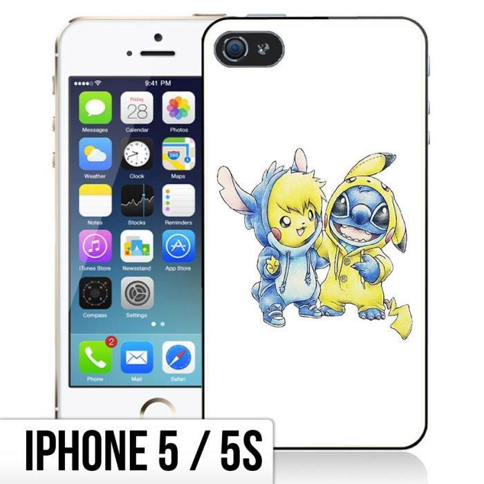 Coque iPhone 5-5S Pikachu Et Stitch - Bébé