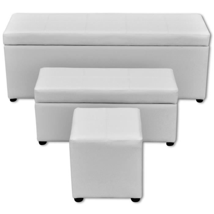 bancs coffres set de banc de rangement en pu blanc achat vente banc cdiscount. Black Bedroom Furniture Sets. Home Design Ideas