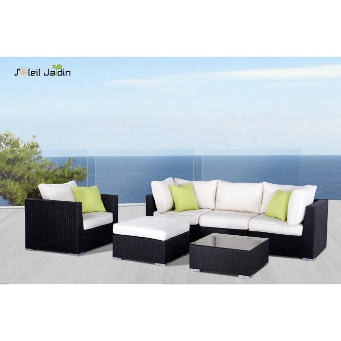 salon de jardin en r sine tress e venise noir achat. Black Bedroom Furniture Sets. Home Design Ideas