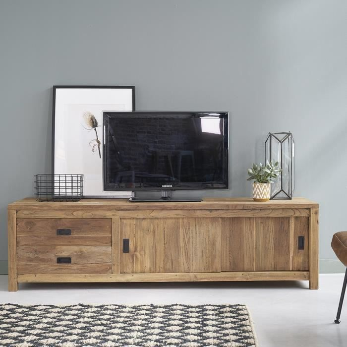 meuble tv teck recycle 180cm 2 portes couliss achat. Black Bedroom Furniture Sets. Home Design Ideas