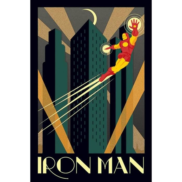 affiche marvel deco iron man retro achat vente affiche cdiscount. Black Bedroom Furniture Sets. Home Design Ideas