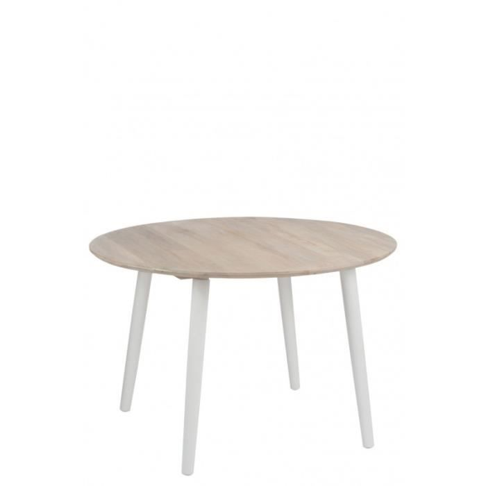Table manger ronde retro bois naturel et blanc 120x76cm for Table a manger ronde bois