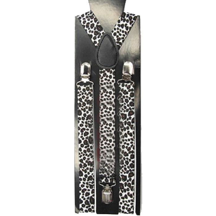 f5bdd42fa9e1 Hommes   Femmes Skinny Bretelles élastique Clip-On accolades solides  unisexe style 15 Thin Black White Leopard
