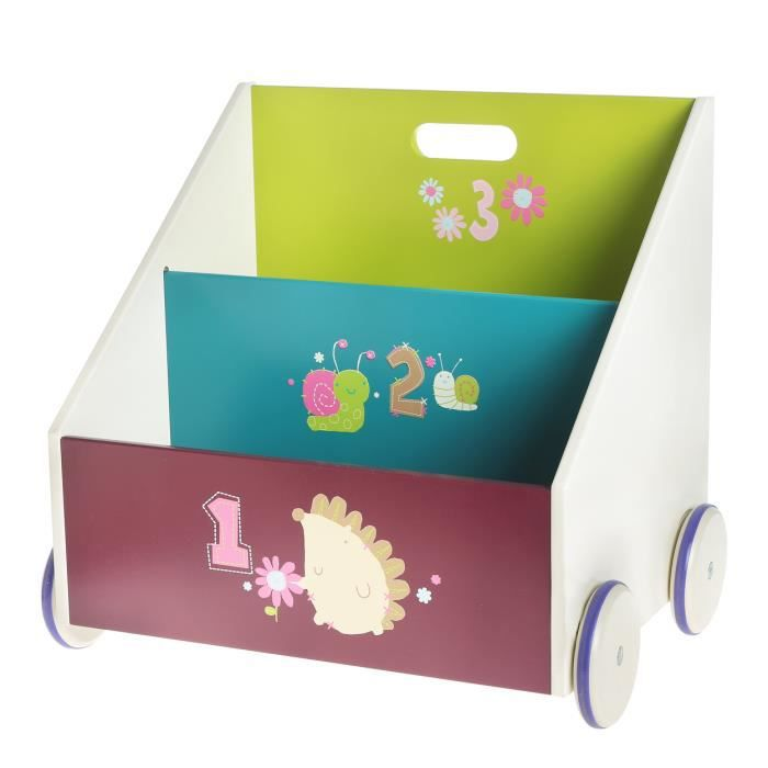 labebe coffre jouets biblioth que en bois meuble de rangement enfant en roulette achat. Black Bedroom Furniture Sets. Home Design Ideas