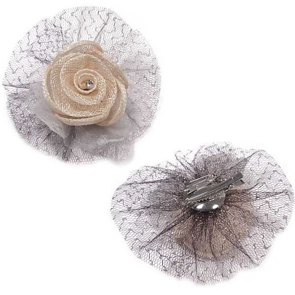 broche barrette en forme de fleur en tulle achat vente. Black Bedroom Furniture Sets. Home Design Ideas