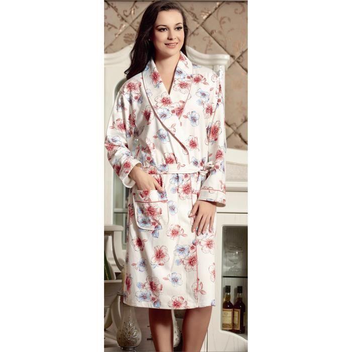 Robe De Chambre 100 Coton Femme Blanche Rose Avec Motif Floral Rouge Et Bleu Achat Vente Robe De Chambre Cdiscount