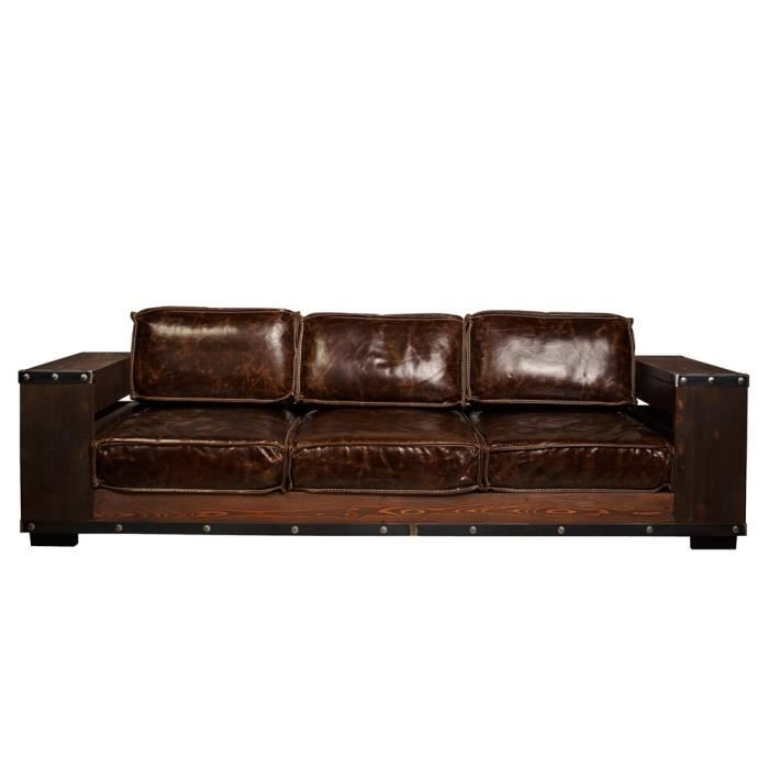 canap 3 places swithome biblioth que cuir bois achat vente canap sofa divan cdiscount. Black Bedroom Furniture Sets. Home Design Ideas