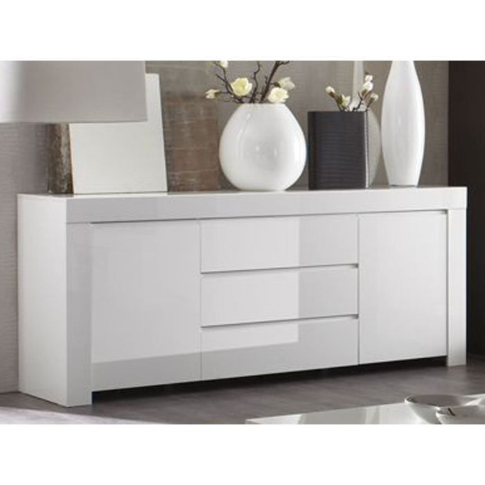 buffet laqu blanc moderne 2 portes et 3 tiroir achat. Black Bedroom Furniture Sets. Home Design Ideas