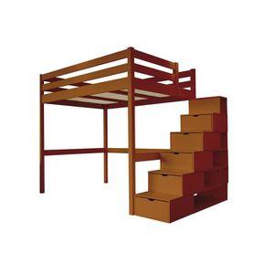 LIT MEZZANINE Lit Mezzanine Sylvia avec escalier cube bois - Cou