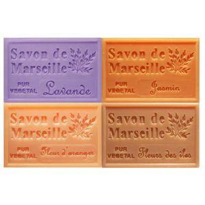 SAVON - SYNDETS Lot 4 savons de Marseille parfums fleurs