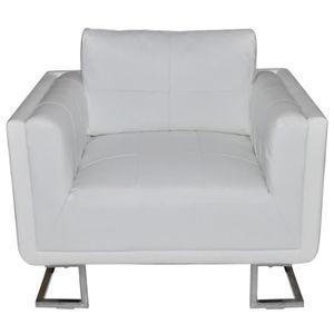 FAUTEUIL Magnifique Luxueux Fauteuil Cube en cuir Blanc
