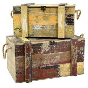 COFFRE - MALLE Coffres en bois recyclé - Lot de 2