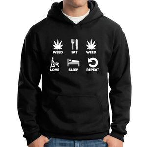 SWEATSHIRT Sweat a capuche Fun KT0743 Weed Eat Weed Love Slee