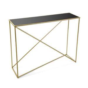 CONSOLE Console dorée avec plateau en verre trempé - L 100
