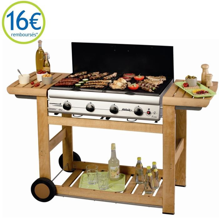 adela de 4 barbecue gaz woody avec chariot bois achat. Black Bedroom Furniture Sets. Home Design Ideas