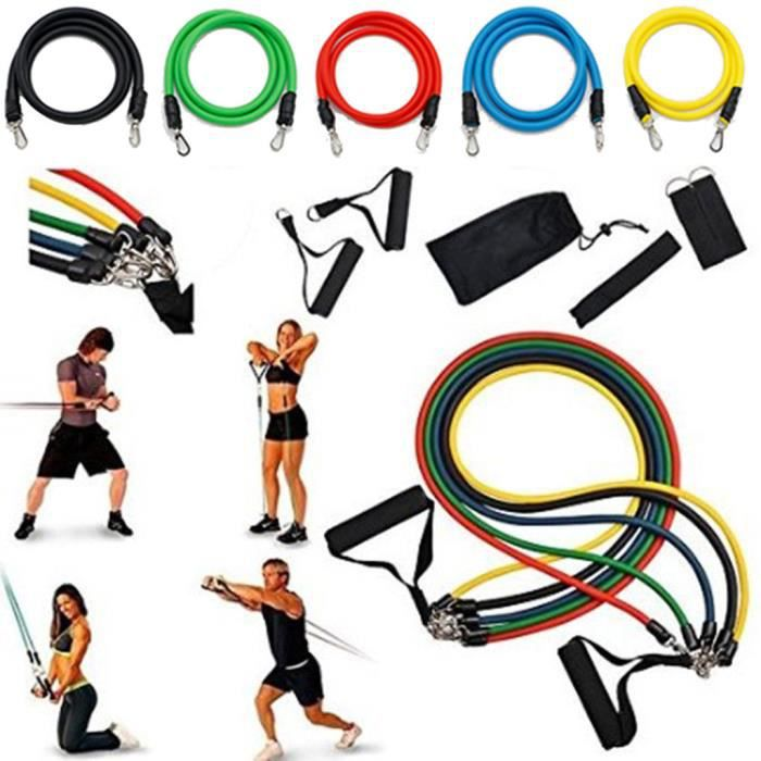 11 PCS Résistance exercice Band Set Yoga Pilates Abs Fitness bandes d'entraînement Tube @sahahhj1298