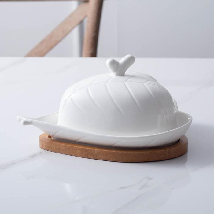 Plat à beurre en céramique de boîte à beurre blanche pure d'amour créatif de plateau en bois avec le couvercle A6360