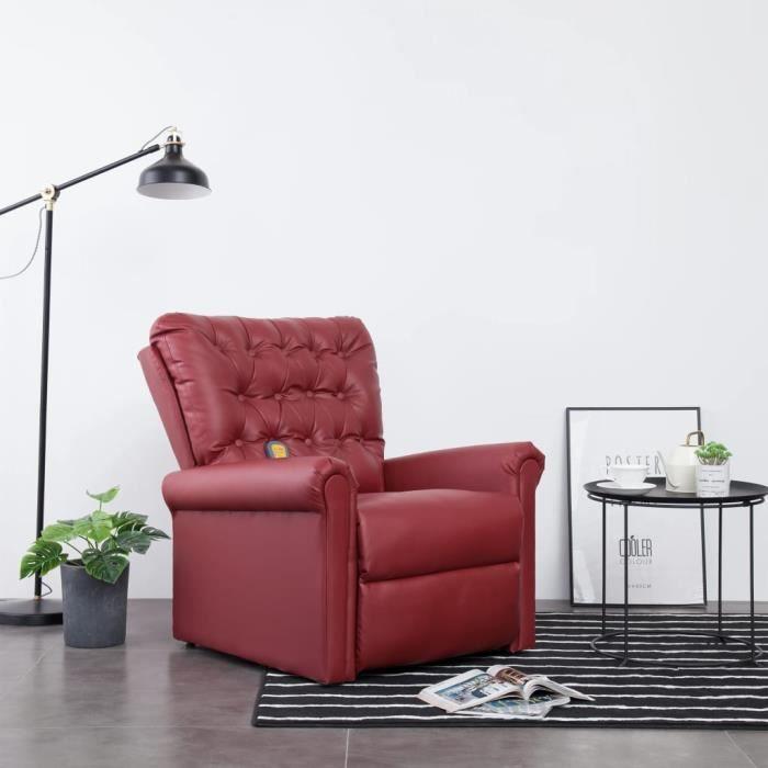 Fauteuil de relaxation grand confort Fauteuil inclinable de massage relax -Chaises Rouge bordeaux Similicuir