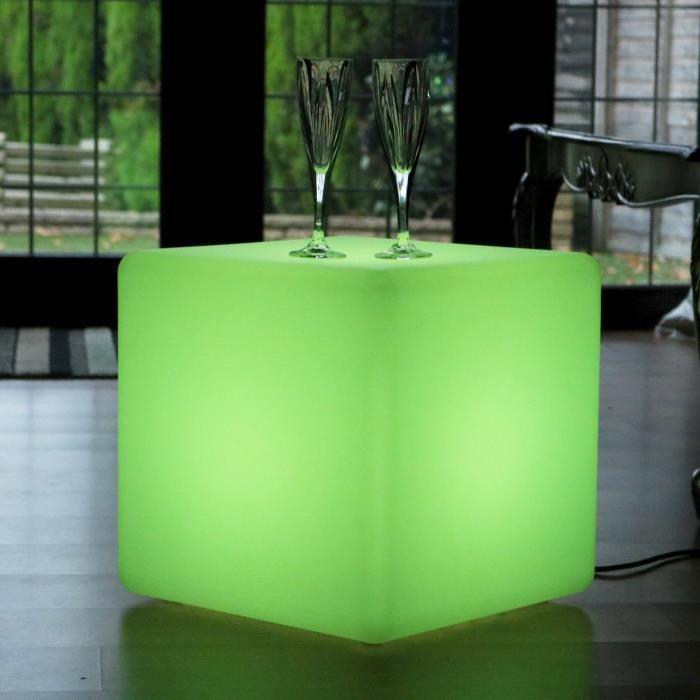 40cm Cube Lumineux LED RGB, Lampadaire Salon Chambre, Tabouret Table Lampe d'Atmosphère avec Télécommande de PK Green