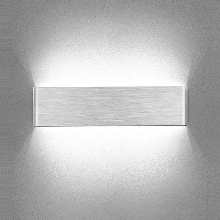 APPLIQUE D'INTERIEUR Temgin Applique Murale Interieur LED 10W Up Down Lampe Murale Aluminium Bross&eacute Blanc Froid 30CM Mode26