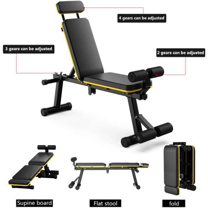 Banc de Musculation Pliable- multifonctionnel Pente réglable sans Installation pour Abdominaux (Noir et jaune)[45]