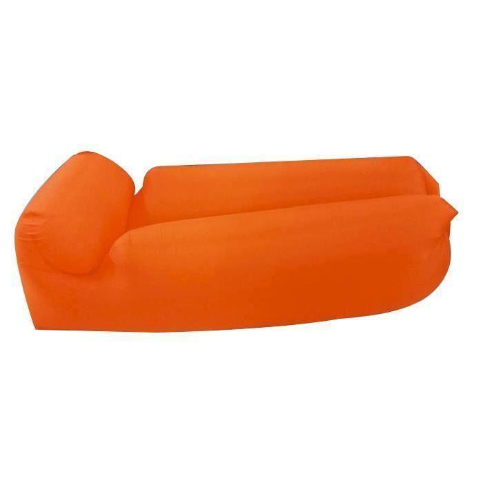 Canapé gonflable paresseux coussin de voyage en plein air comprimé 190 x 70 x 50cm Orange Ve29986