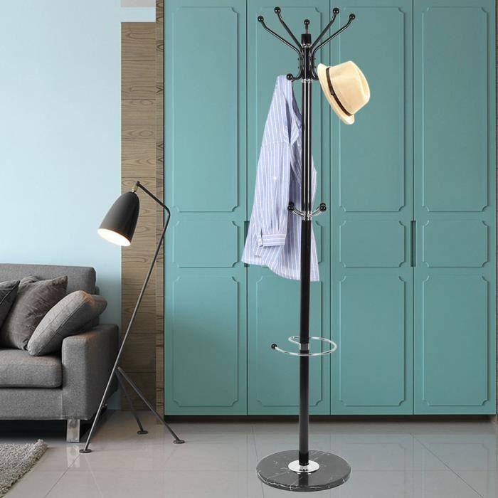 Porte manteaux 14 boules 176 cm noir et chromé + socle en marbre