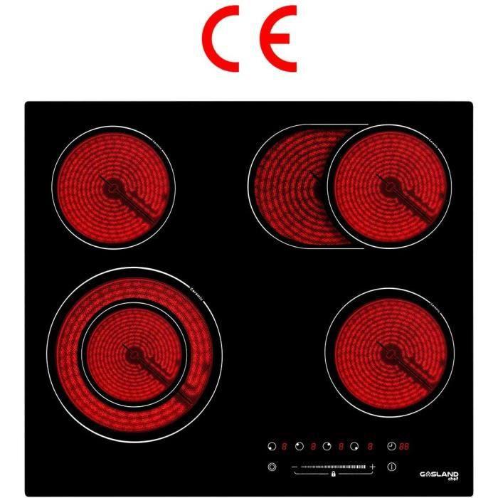 Gasland Chef CH604BF Encastrable Table de Cuisson Vitrocéramique, Électrique Plaque de Cuisson 60cm, 6600W, 4 Foyers, Zone Double &
