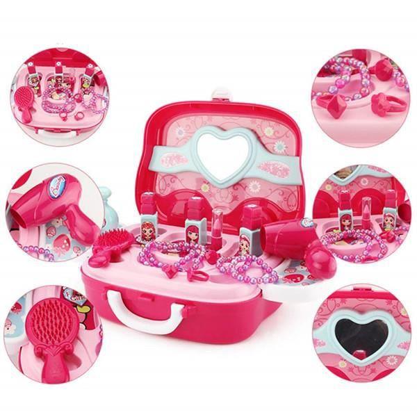 Jeu de rôle Bijoux kit Toy Set 19 PCS Princesse Valise Cadeau pour Les Filles Enfants Kids, Rose