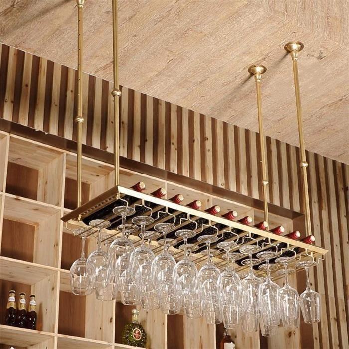 MADHEHAO Porte-Bouteille de vin Vintage, Porte-Verres à Pied Suspendu, Hauteur réglable, casier à vin, Plafond, Porte-Bouteille A232