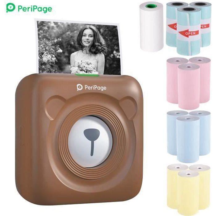 PeriPage Mini Pocket Imprimante thermique BT Imprimante de papier de ticket de mémo d'étiquette d'image+12 rouleaux de papier _Marro
