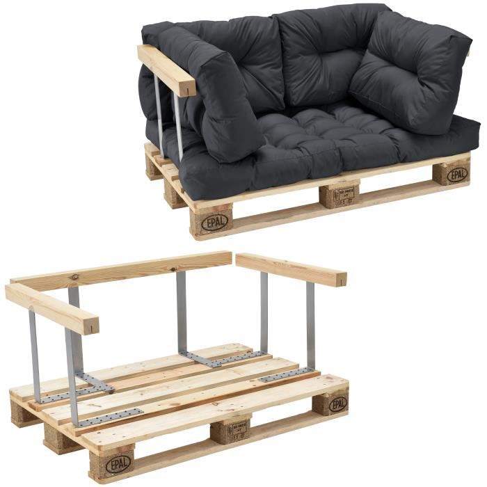 Canapé de palette euro- 2-siège avec coussins- [gris foncé] kit complète incl. dossier et appuie-bras