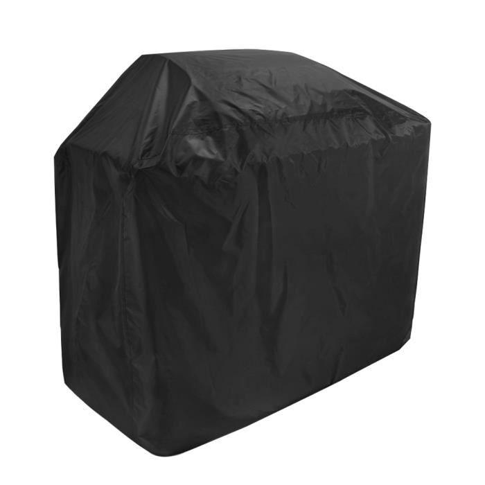Barbecue Cover Heavy Duty BBQ Grill Cover 210D Oxford Tissu imperméable coupe-vent avec sangles auto-adhésif pour l'extérieur Noir
