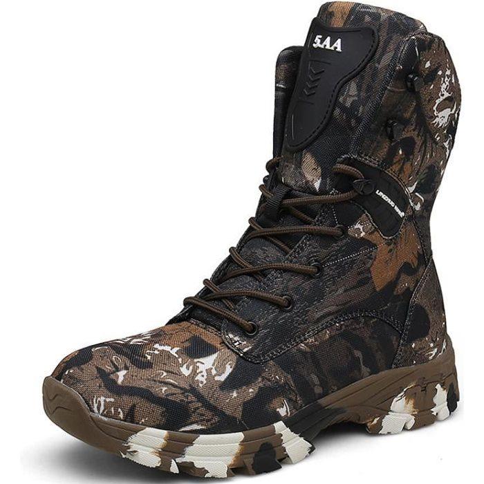 Chaussures High-Top Militaire pour Homme Tactique Bottes de randonnée Travail Combat Tous Les terrains résistante à l'usure Bottes