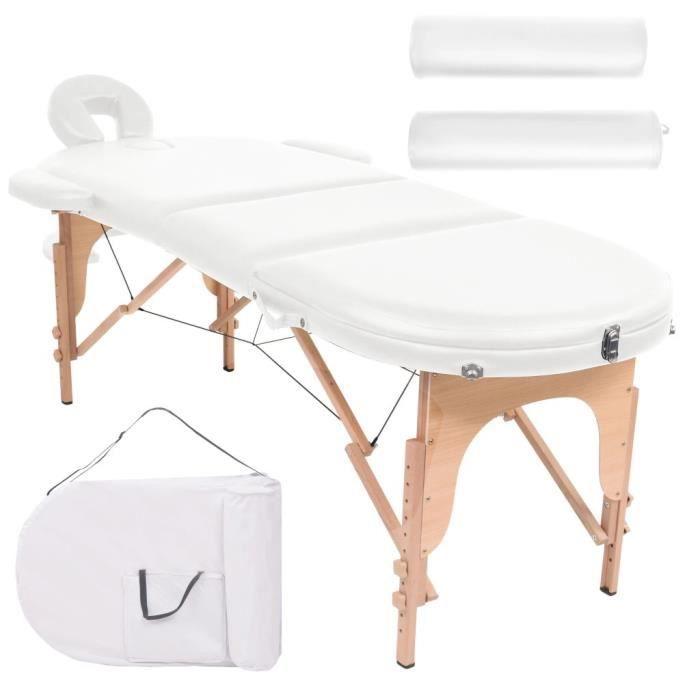 Table de massage pliable 10cm d'épaisseur et 2 traversins Blanc
