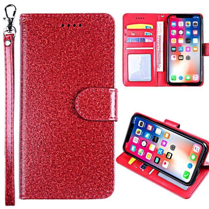 Housse à Rabat Portefeuille pour Wiko Y60 5.45-,Etui de Protection avec Fonction Support Magnétique Portables,Rouge