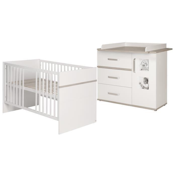 ROBA Ensemble de meubles bébé -Moritz- 2 pièces, lit bébé 70x140 cm + commode à langer blanche-beige
