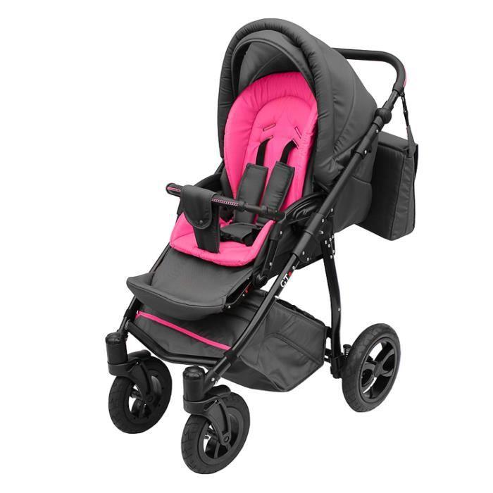 Poussette avec look sportif + accessoires & cadre en aluminium et roues gonflables bébé enfant GTr - Rose.