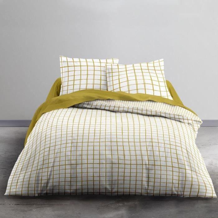 TODAY Parure de lit 2 personnes - 220 x 240 cm - Imprimé jaune Graphique CRAZY Nadashi TODAY