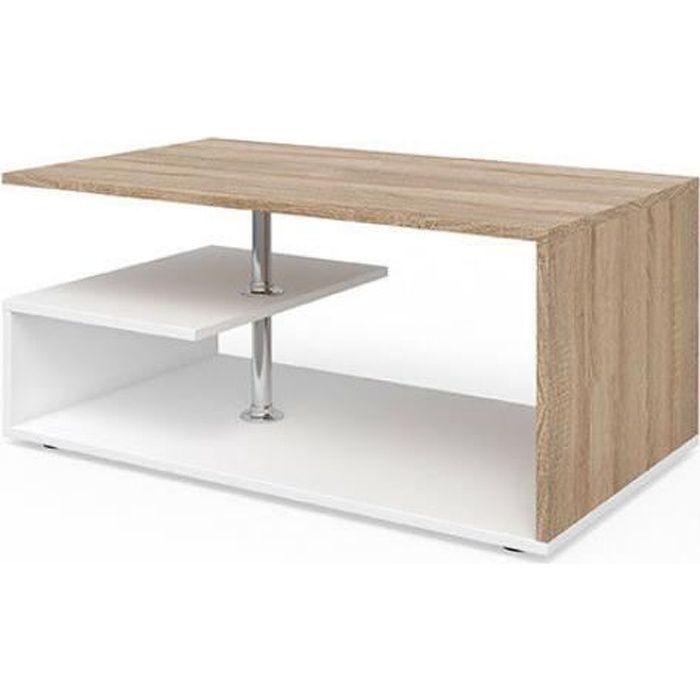 Table basse design OKA blanche bois naturel 100cm Tresice france