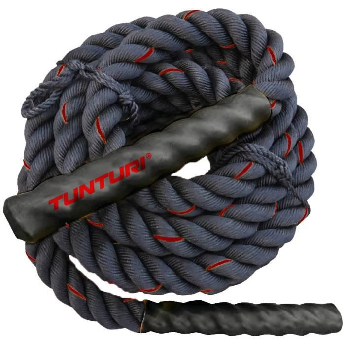 TUNTURI Corde ondulatoire de musculation battle rope crossfit 15m noire