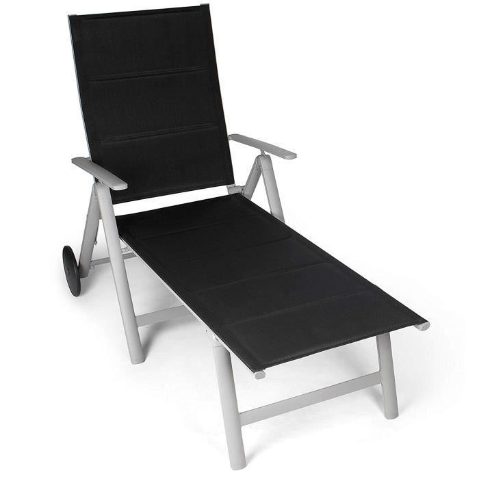 Transat/Chaise longue - Vanage, Surface textile remourée, Pliable, roulettes de transport, Structure en aluminium, Noir